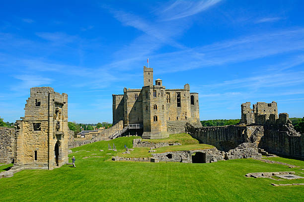 Warkworth, United Kingdom -June 11, 2015.: A beautiful medieval castle in Northumberland.